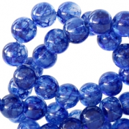 6 mm glaskralen transparant gemêleerd Cobalt blue