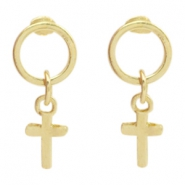 Trendy oorbellen circle studs cross Goud