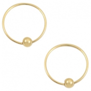 Trendy oorbellen hoops with ball Goud