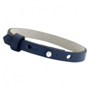 Cuoio armbanden leer 8mm voor 12 mm cabochon Crown blue