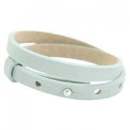 Cuoio armbanden leer 8mm dubbel voor 12 mm cabochon Soft sky blue