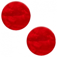 12 mm platte cabochon Polaris Elements Mosso shiny Scarlet red