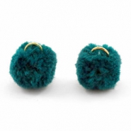 Pompom bedel met oog goud 15mm Dark teal green