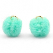 Pompom bedel met oog goud 15mm Dark mint green