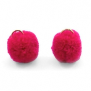 Pompom bedel met oog goud 15mm Raspberry wine red