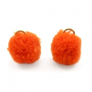 Pompom bedel met oog goud 15mm Coral red orange