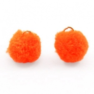 Pompom bedel met oog goud 15mm Neon orange