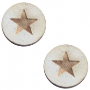 Houten cabochon 12 mm star large Grey