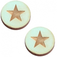 Houten cabochon 12 mm star large Sea green