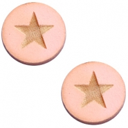 Houten cabochon 12 mm star large Pink