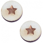 Houten cabochon 12 mm star small Grey