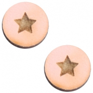 Houten cabochon 12 mm star small Pink