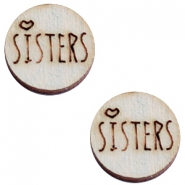 Houten cabochon 12 mm sisters Grey