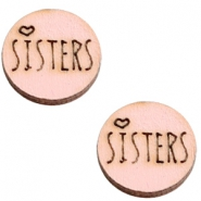 Houten cabochon 12 mm sisters Pink