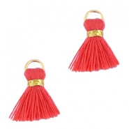 Kwastjes Ibiza style 1.5cm Gold-vermillion coral red orange
