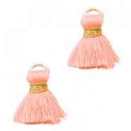 Kwastjes Ibiza style 1.5cm Gold-coral peach