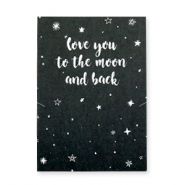 "Sieraden wenskaart ""LOVE YOU TO THE MOON AND BACK"" Zwart-wit"