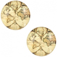 Cabochon basic world map 20mm Vintage-almond brown