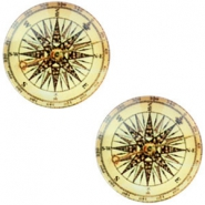 Cabochon basic compass 12mm Vintage-light golden yellow