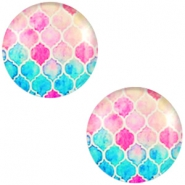 Cabochon basic multicolour 20mm Turquoise blue-pink