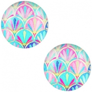 Cabochon basic multicolour 12mm Turquoise blue-pink
