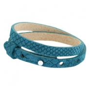 Cuoio armbanden leer Reptile 8 mm dubbel voor 12 mm cabochon Mosaic blue