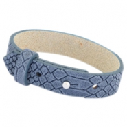 Cuoio armbanden leer Reptile 15 mm voor 20 mm cabochon Light denim blue