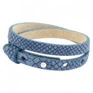 Cuoio armbanden leer Reptile 8 mm dubbel voor 12 mm cabochon Light denim blue
