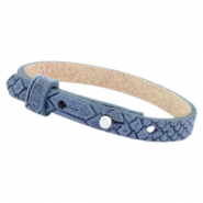 Cuoio armbanden leer Reptile 8 mm voor 12 mm cabochon Light denim blue