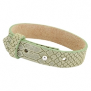 Cuoio armbanden leer Reptile 15 mm voor 20 mm cabochon Light army green