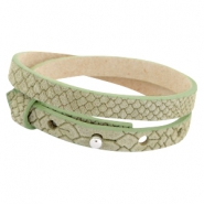 Cuoio armbanden leer Reptile 8 mm dubbel voor 12 mm cabochon Light army green