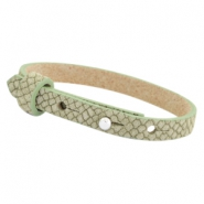 Cuoio armbanden leer Reptile 8 mm voor 12 mm cabochon Light army green