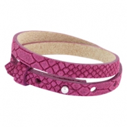 Cuoio armbanden leer Reptile 8 mm dubbel voor 12 mm cabochon Fuchsia orchid rose