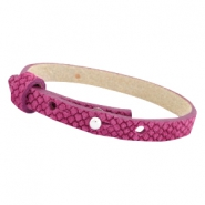 Cuoio armbanden leer Reptile 8 mm voor 12 mm cabochon Fuchsia orchid rose