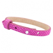 Cuoio armbanden leer Reptile 8 mm voor 12 mm cabochon Fuchsia purple