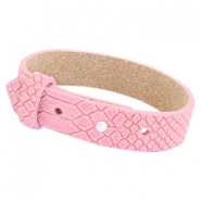 Cuoio armbanden leer Reptile 15 mm voor 20 mm cabochon Candy pink