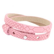 Cuoio armbanden leer Reptile 8 mm dubbel voor 12 mm cabochon Candy pink