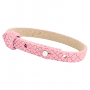 Cuoio armbanden leer Reptile 8 mm voor 12 mm cabochon Candy pink