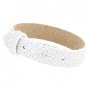 Cuoio armbanden leer Reptile 15 mm voor 20 mm cabochon White