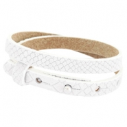 Cuoio armbanden leer Reptile 8 mm dubbel voor 12 mm cabochon White