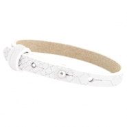 Cuoio armbanden leer Reptile 8 mm voor 12 mm cabochon White