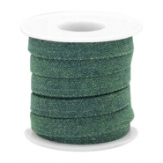 Trendy plat koord denim 10mm Dark emerald green