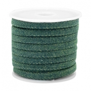 Trendy plat koord denim 5mm Dark emerald green