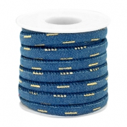 Trendy gestikt koord denim 6x4mm Midnight blue-gold