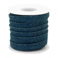 Trendy plat koord denim 10mm Dark royal blue