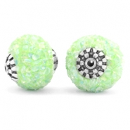 Bohemian kralen 14mm Light green-silver