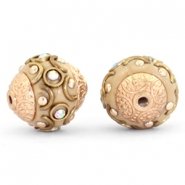 Bohemian kralen 14mm Light brown-crystal AB-gold