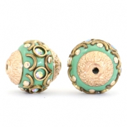 Bohemian kralen 14mm Turquoise green-crystal AB-gold