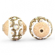 Bohemian kralen 14mm White-crystal AB-gold