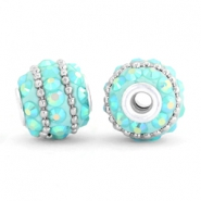 Bohemian kralen 14mm Turquoise blue-turquoise AB-silver